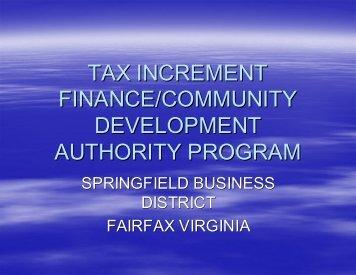 tax increment finance/community development authority program