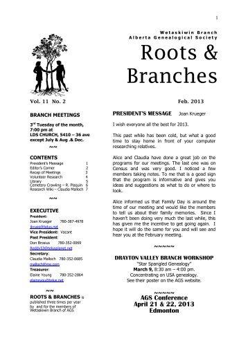 February 2013 - Wetaskiwin Branch, Alberta Genealogical Society