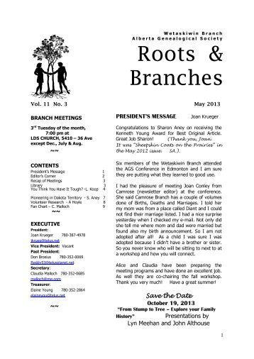 May 2013 - Wetaskiwin Branch, Alberta Genealogical Society