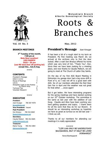 May 2012 - Wetaskiwin Branch, Alberta Genealogical Society
