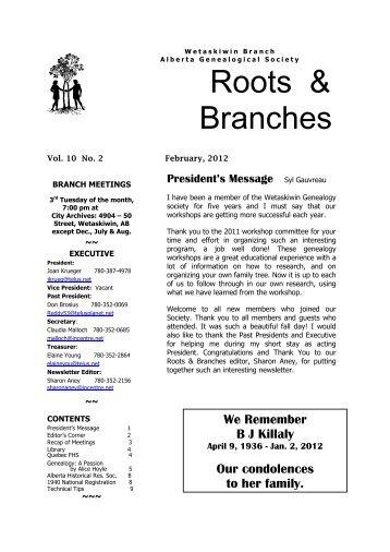 February 2012 - Wetaskiwin Branch, Alberta Genealogical Society