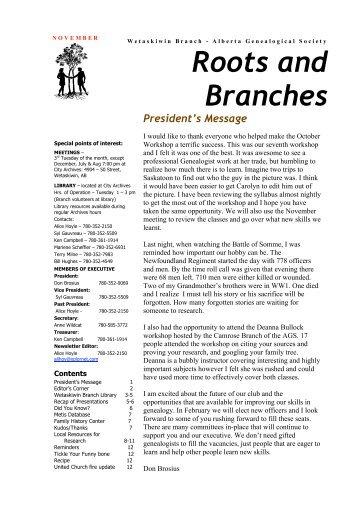 November 2009 - Wetaskiwin Branch, Alberta Genealogical Society