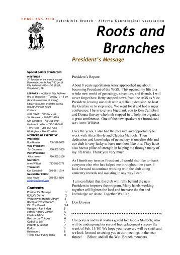 February 2010 - Wetaskiwin Branch, Alberta Genealogical Society