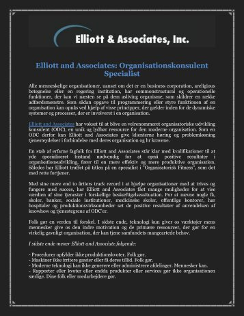 Elliott and Associates: Organisationskonsulent Specialist