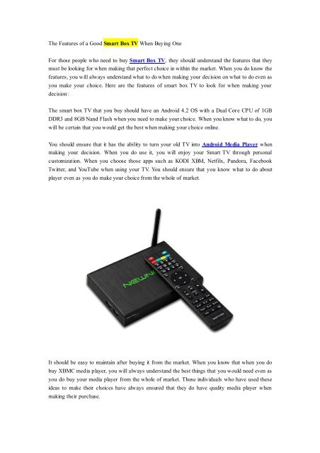 The Features of a Good Smart Box TV When Buying One pdf