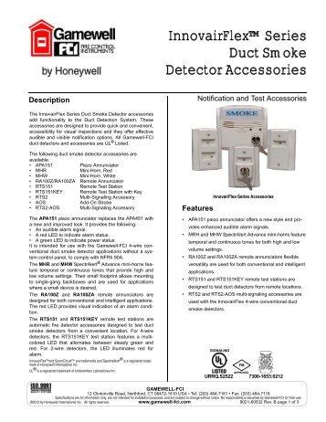 InnovairFlex™ Series Duct Smoke Detector ... - Gamewell-FCI