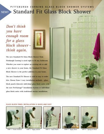 PITTSBURGH CORNING GLASS BLOCK SHOWER SYSTEMS .