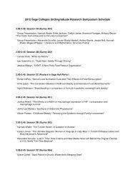 2012 Sage Colleges Undergraduate Research Symposium Schedule