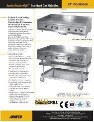 "Anets GoldenGrill Standard Gas Griddles 24"" AG Models"