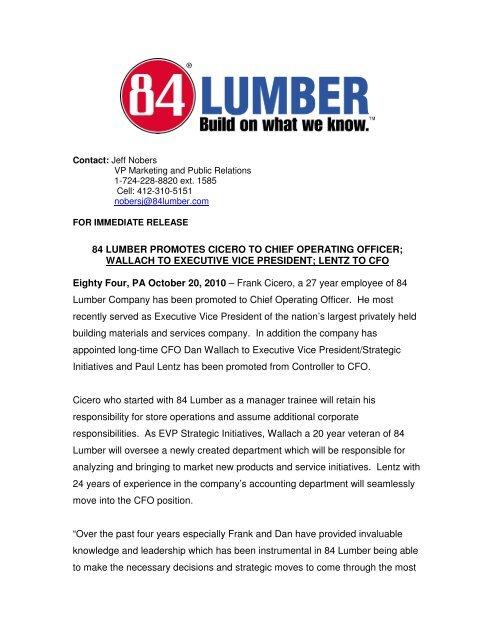 Cicero-Wallach-Lentz release pdf - 84 Lumber
