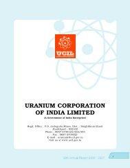 URANIUM CORPORATION OF INDIA LIMITED - (UCIL).....