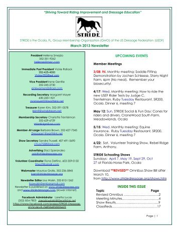 to download your March 2013 Newsletter - STRIDE Dressage of Ocala