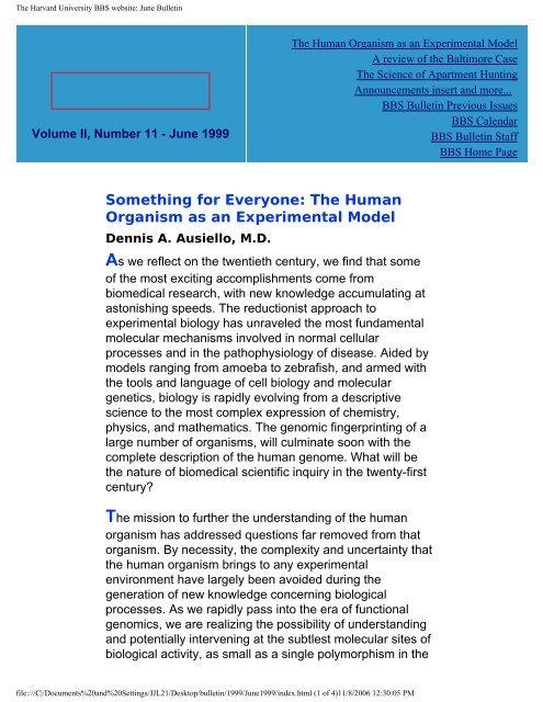 June 1999 - Division of Medical Sciences Bulletin - Harvard University