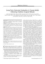 Long-Term Outcome Evaluation in Young Adults Following Clubfoot ...