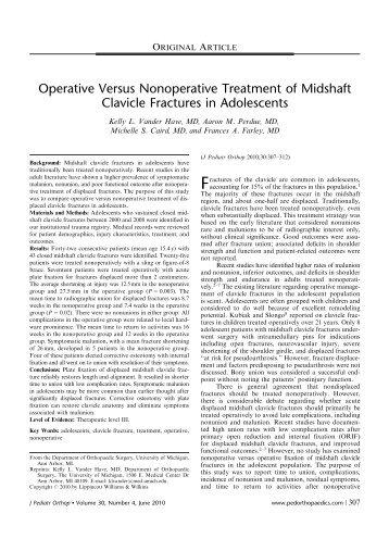Operative Versus Nonoperative Treatment of Midshaft Clavicle ...