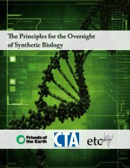 The Principles for the Oversight of Synthetic Biology The Principles ...