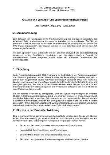 Zusammenfassung 1 Einleitung 2 Skizzen in der Produktentwicklung