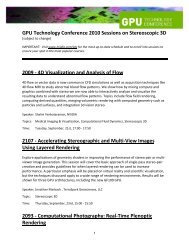 GPU Technology Conference 2010 Sessions on Stereoscopic 3D ...