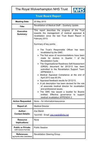 Revalidation of Medical Staff - The Royal Wolverhampton Hospitals ...