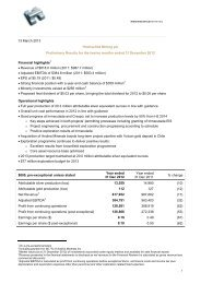 Preliminary Results for the twelve months ended 31 December 2012