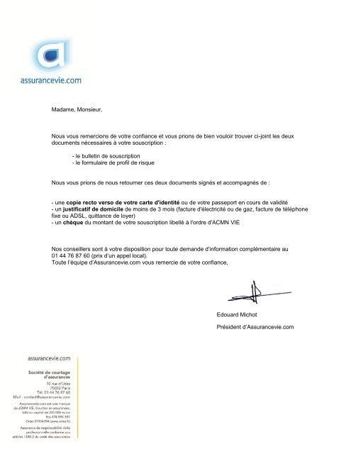 Bulletin De Souscription Assurancevie Com