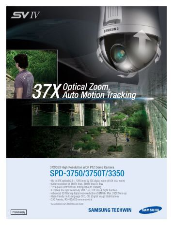Samsung SPD-3750T Dome cameras product datasheet