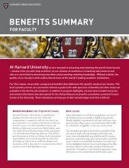 BENEFITS SUMMARY - Harvard University - Office of Faculty ...