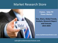 Solar PV Power in France, Market Outlook to 2025, Update 2015 - Capacity, Generation, Levelized Cost of Energy (LCOE), Investment Trends, Regulations and Company Profiles