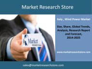 Wind Power in Italy, Market Outlook to 2025, Update 2014 - Capacity, Generation, Levelized Cost of Energy (LCOE), Investment Trends, Regulations and Company Profiles