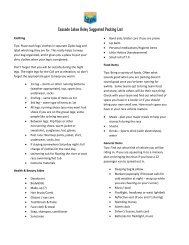 Use a packing list - Cascade Lakes Relay