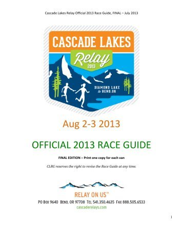 Aug 2-‐3 2013 OFFICIAL 2013 RACE GUIDE - Cascade Lakes Relay
