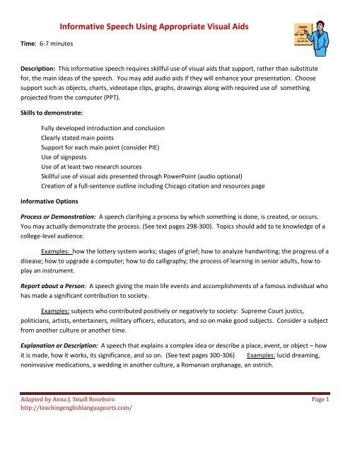 Informative Speech With Visual Aid Teachingenglishlanguageartscom