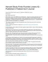Harvard Study Finds Fluoride Lowers IQ ... - StopTheCrime.net