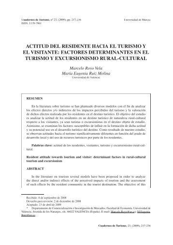 ACTITUD DEL RESIDENTE HACIA EL TURISMO Y EL VISITANTE ...