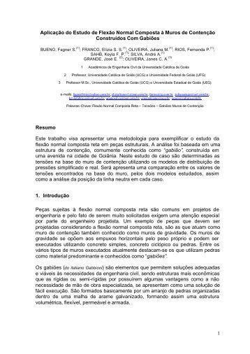 1 Aplicação do Estudo de Flexão Normal Composta à Muros ... - Ucg