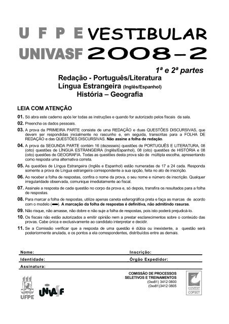 PROVA UNEB 2008 VESTIBULAR BAIXAR