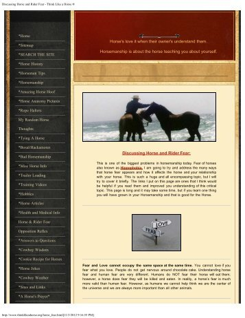 Discussing Horse and Rider Fear - Think Like a Horse ®