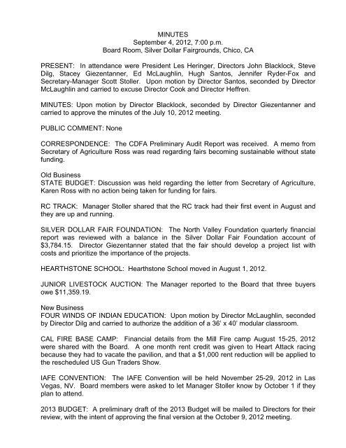 MINUTES September 4, 2012, 7:00 p.m. Board ... - Silver Dollar Fair