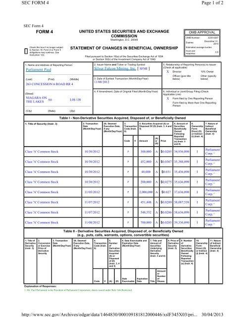 Sec Form 4 >> Page 1 Of 2 Sec Form 4 30 04 2013 Http Www Sec Gov Archives