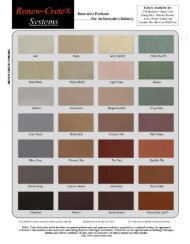 Standard Color Chart - Renew Crete Systems, Inc