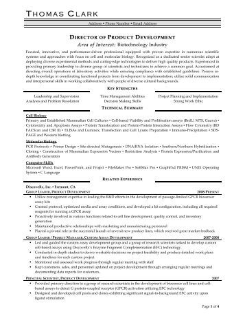 director of product development resume prime