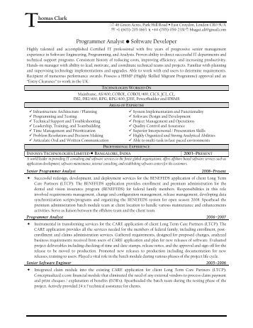 programmer analyst software developer resume prime
