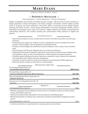 apartment manager resume - Property Manager Resume