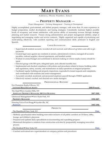 property manager resume sample resume for property manager