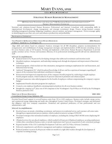 MARY EVANS,SPHR - Resume Prime