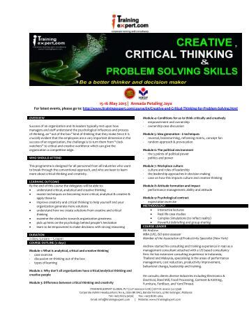 instructional strategies for critical thinking and problem solving Teaching methods to encourage independent learning and thinking and will address solving this problem through instructional strategies or.
