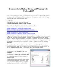 CommuniGate Mail Archiving and Cleanup with Outlook 2007 - JAARS