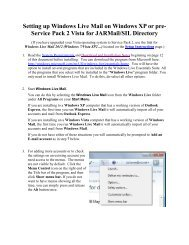 Windows Live Mail (Vista/XP) - JARMail WEB - JAARS
