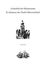Liederheft der Ministranten St. Johannes der Täufer Oberviechtach