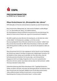 """Klaus Kretschmann ist """"Ehrenamtler des Jahres"""" - OstseeSparkasse ..."""